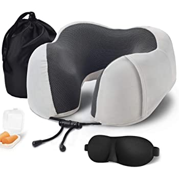 LUFENG Inflatable Neck Pillow with Ear Plugs Eye Mask and Drawstring Bag