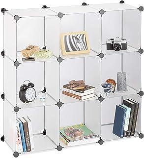 Relaxdays Étagère rangement 9 casiers plastique modulable DIY assemblage plug in bibliothèque 95x95x32 cm, transparent