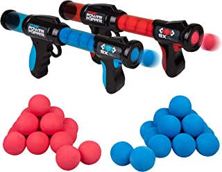 Hog Wild Atomic Power Popper Battle Pack - Red and Blue Rapid Fire Foam Ball Blaster Guns - Shoots Up to 8 Foam Balls Each - 2 Player - 4+
