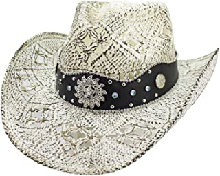 f4005bc23f70b Luxury Divas White Antiqued Straw Cowboy Hat with Jeweled Band