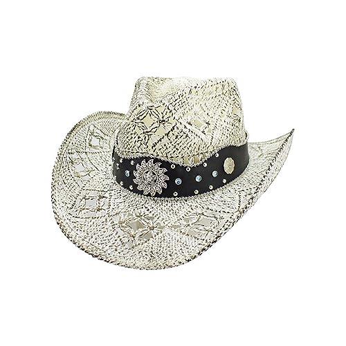 debaf18543457c Luxury Divas White Antiqued Straw Cowboy Hat with Jeweled Band