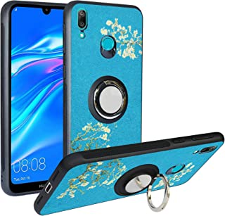 Alapmk Case for Huawei Y7 2019 / Y7 Prime 2019,[Pattern Design] with Kickstand Fit Magnetic Car Mount, Shockproof TPU Protective Case Cover for Huawei Y7 2019 / Y7 Prime 2019, Flower