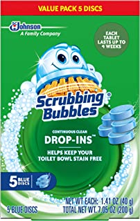 Scrubbing Bubbles Vanish Continuous Clean Toilet Bowl Drop-Ins, Box of 5 Blue Discs (2-Pack, 10 Discs Total)