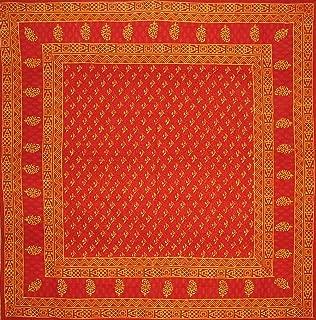 Full Moon Loom Block Print Square Cotton Tablecloth 72