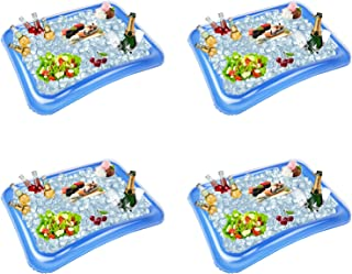 4-Pack Inflatable Ice Serving Bar Coolers for Parties, Salad BBQ Picnic Ice Food Drinks Buffet Server Tray for Indoor Outdoor Party