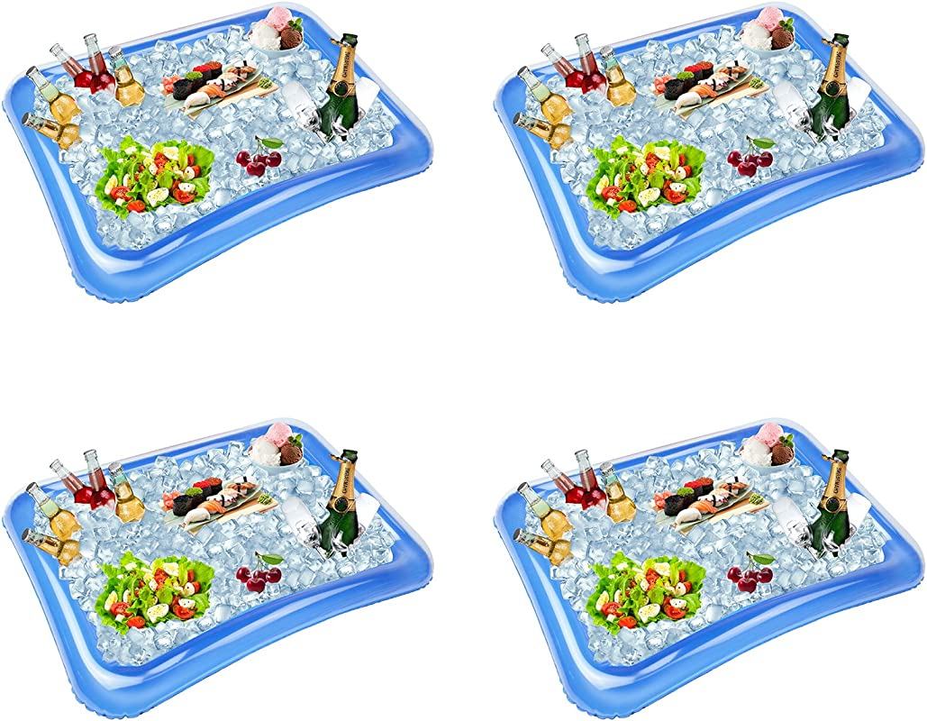 4 Pack Inflatable Ice Serving Bar Coolers For Parties Salad BBQ Picnic Ice Food Drinks Buffet Server Tray For Indoor Outdoor Party