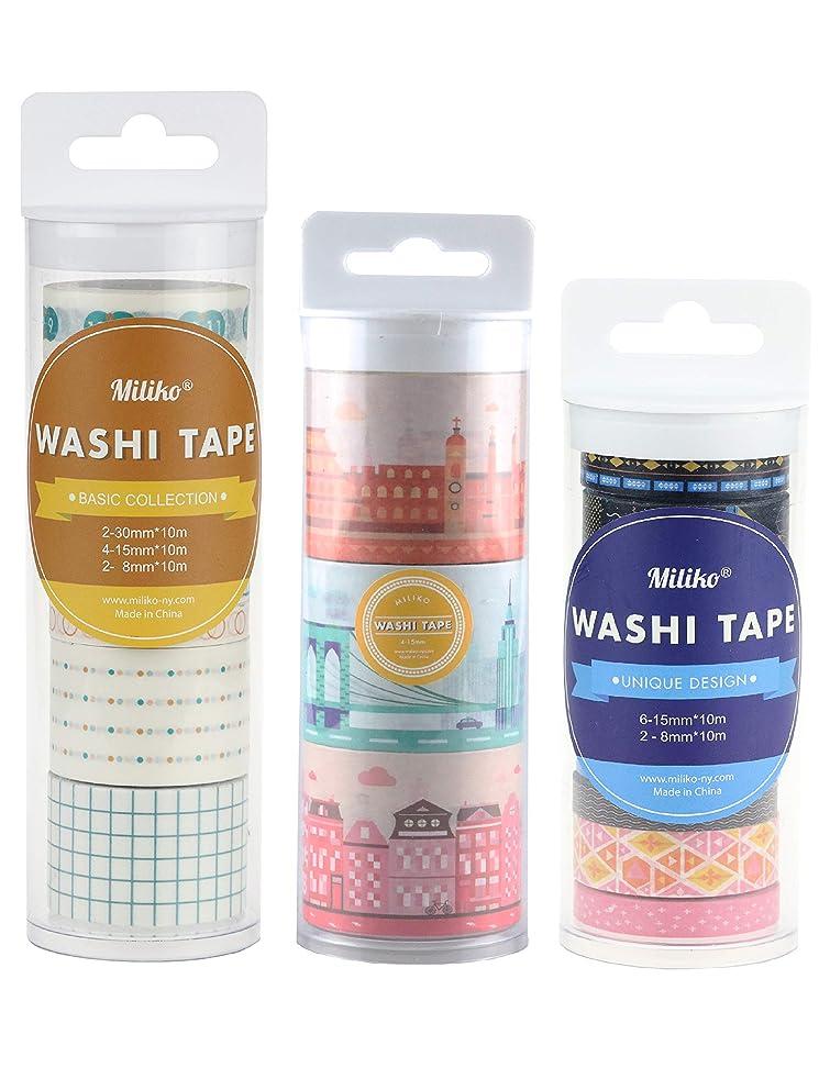Miliko Todo/Decoration Journal Washi Tape Gift Set-3 Set, 19 Lovely Washi Tapes