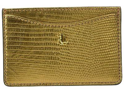 LAUREN Ralph Lauren Lizard Embossed Slim Card Case Medium (Gold) Handbags