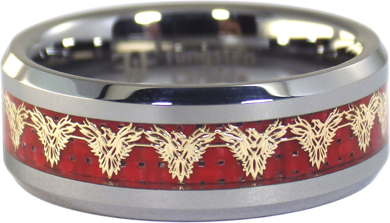 Fantasy Forge Jewelry Gold Phoenix Tungsten Ring Mens Womens 8mm Red Carbon Fiber Firebird Band Sizes 5-17