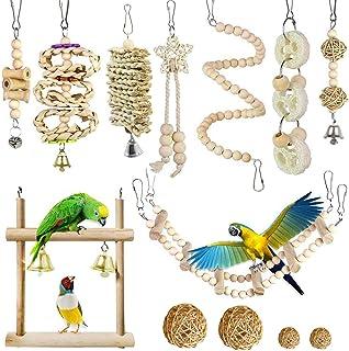 Allazone 13 sztuk drążków do siedzenia dla ptaków, huśtawka z papugi, huśtawka dla ptaków, ptaków, zabawka dla ptaków, pap...