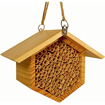 "Beecome Mason Bee House - Premium Beehive - Professional Garden Supplies - Garden Gifts for Plant Lovers - 10.7""x8.7""x6.3"" - Pine Wood(Body) / Natural Reed(Tube) / Hemp String(Rope)"