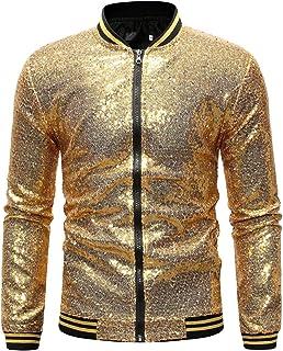 Mens Jacket Zipper Solid Color Sequin Long Sleeve Standing Collar Coat