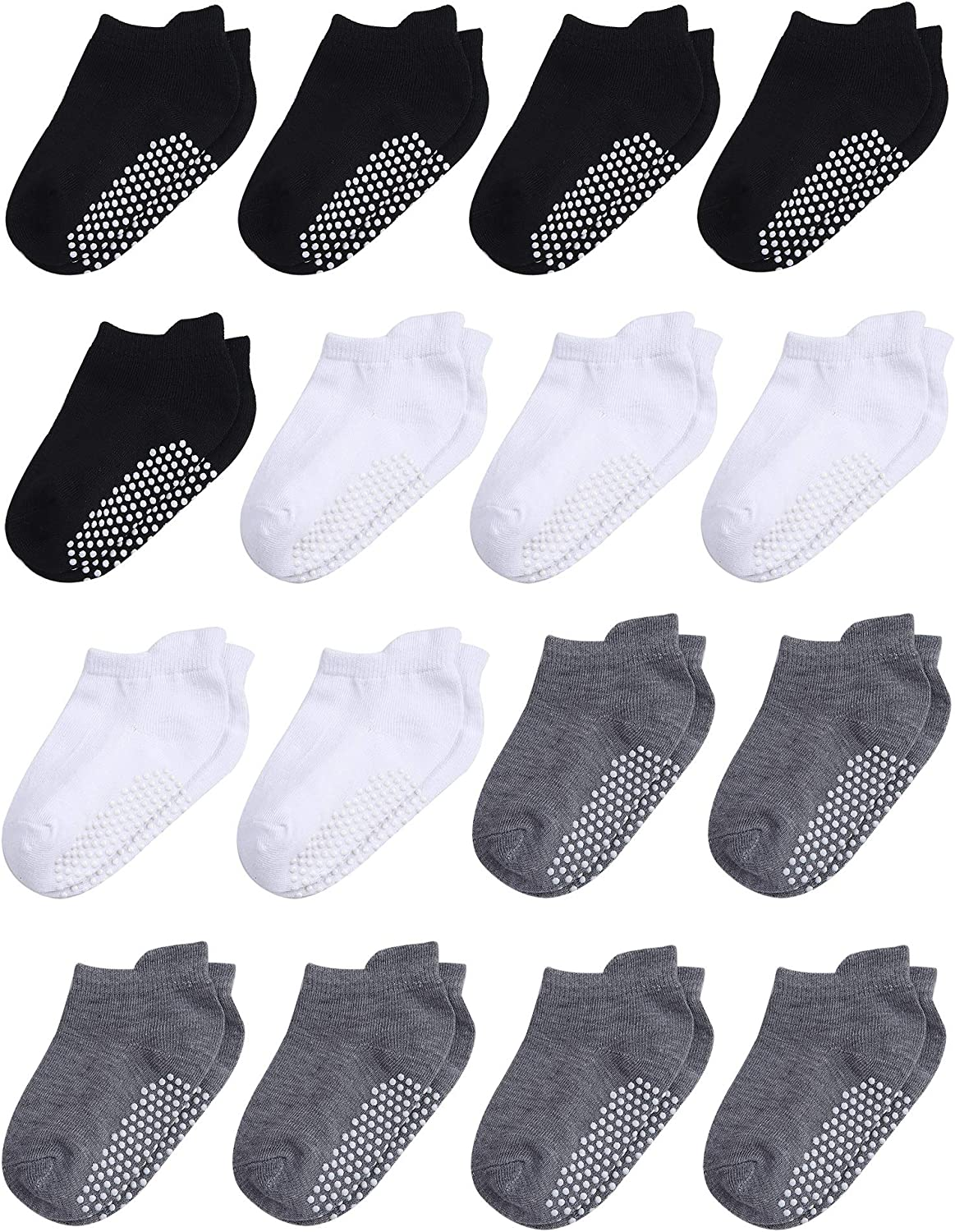 Cooraby 16 Pairs Toddler Non Slip Grip Ankle Socks Anti Skid Athletic Socks for Toddlers Boys or Girls