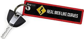 KEYTAILS Keychains, Premium Quality Key Tag for Motorcycle, Car, Scooter, ATV, UTV [Real Men Like Curves]