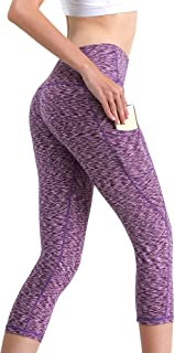 MYoga Women's High Waist Yoga Pants Workout Running Capri Leggings Active Athletic Leggings with Side Pockets