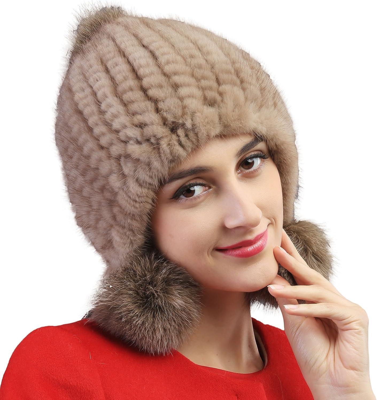Mandy's Women's Autumn Winter Warm Mink Fur Hats New Dress Show Cap Flexible