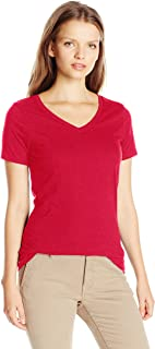 French Toast Junior's Juniors Short Sleeve V-Neck Tee, Red, XL