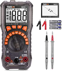 TACKLIFE Multimeter  DM10 Digital Electrical Tester Auto Ranging Battery Tester AC DC Voltage AC DC Current Resistance Continuity Diode Measuring Meter with NCV  Flashlight and Data Retention