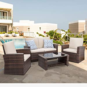 Shintenchi 4-Piece Outdoor Patio Furniture Set, Wicker Rattan Sectional Sofa Couch with Glass Coffee Table   Brown