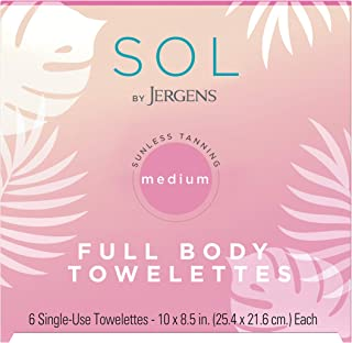 SOL by Jergens Full Body Self-Tanning Towelettes, All Skin Tones, 6 Count Streak-free Natural-Looking Self Tanning Wipes, ...