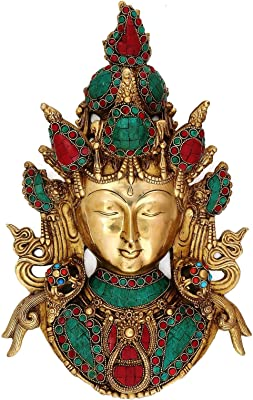 Collectible India 15.5 Inches Large Turquoise Tara Buddha Wall Hanging Mask Feng Shui Gifts - Brass Sculpture