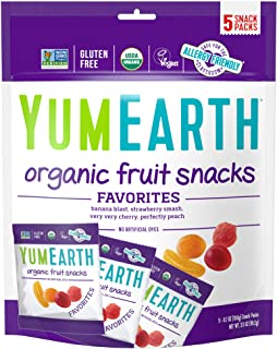 YumEarth Organic Vegan Fruit Snacks, 5 Snack Packs per bag (Pack of 1) - Allergy Friendly, Non GMO, Gluten Free, Vegan (Pa...