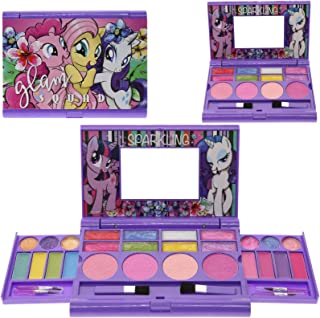 Townley Girl Hasbro My Little Pony Cosmetic Compact Set with Mirror 22 Lip glosses, 4 Body Shines, 6 Brushes Colorful Portable Foldable Make Up Beauty Kit for Girls
