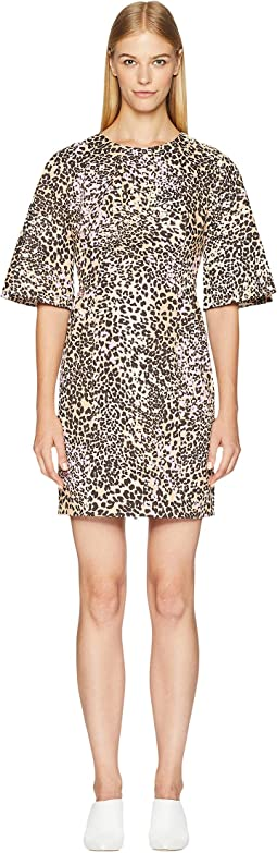 Leopard Cotton Sculpted Mini Dress