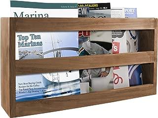 SeaTeak 62508 Double-Wide Teak Magazine Rack, Wall Mount or Free Standing