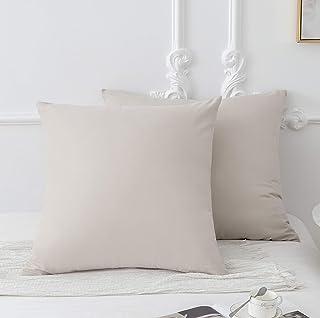 MOHAP Lot de 2-100% Coton Taies d'oreiller 65x65cm Beige avec la Fermeture Eclair Housse d'oreiller