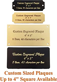 Stanley London Personalized, Custom Engraved Brass Plaque, Name Plate, Art Tag, Picture Frame Label, Trophy Award - Fixed or Custom Sizes