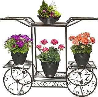 Sorbus Garden Cart Stand & Flower Pot Plant Holder Display Rack, 6 Tiers, Parisian Style - Perfect for Home, Garden, Patio (Bronze)
