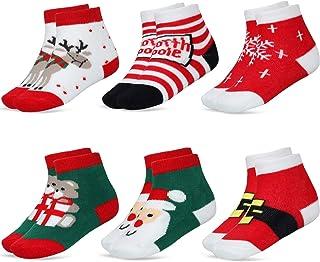 6 Pares Calcetines de Dibujos Aanimados de Navidad de Bebé Niños Calcetines Lindos de Algodón para Niñas Niños
