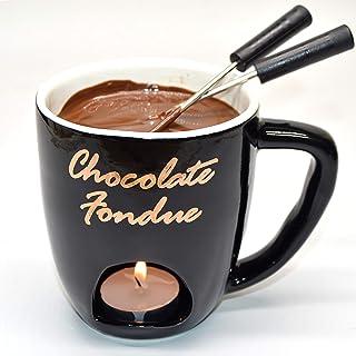KDS Black Ceramic Fondue Mug Set, 4 Pieces Set Chocolate and Cheese Fondue