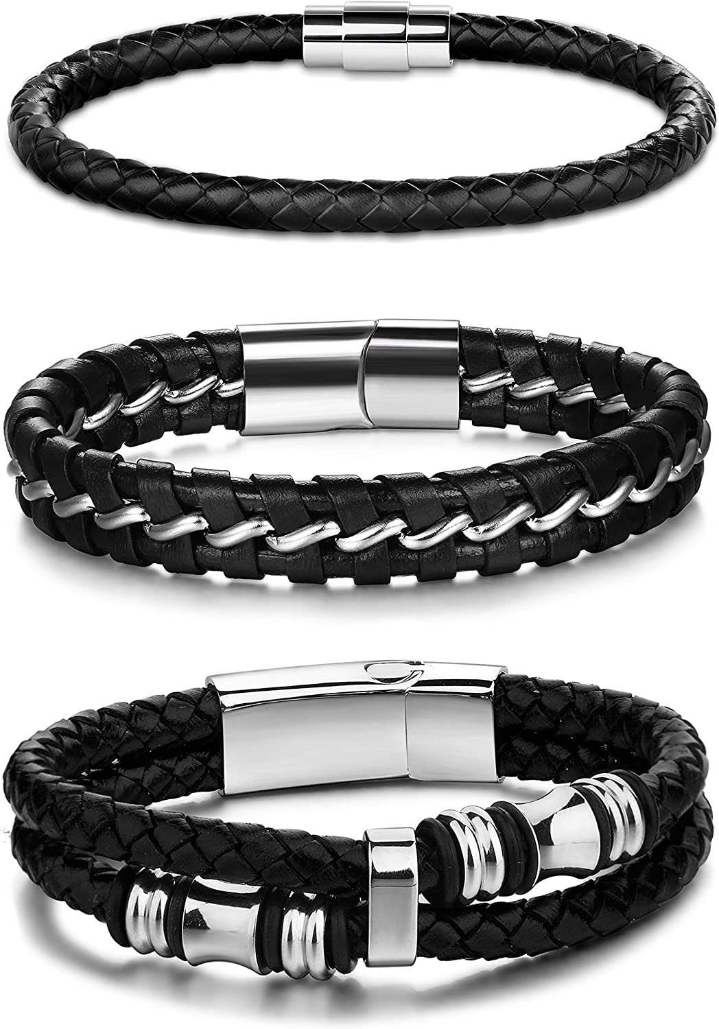 Jstyle 3Pcs Stainless Steel Braided Leather Bracelet for Men Women Leather Wrist Band Cuff Bangle Bracelet Magnetic Clasp 7.5-8.5 inches: Clothing, Shoes & Jewelry
