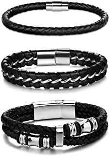 3Pcs Stainless Steel Braided Leather Bracelet for Men...
