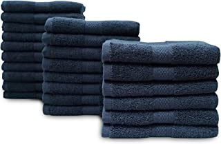 Eco Linen Cotton Salon Towels - Gym Towel Hand Towel - (24-Pack, Black) - 16 x 26 inches - Organic Ringspun Cotton, Maximum Softness and Absorbency, Easy Care