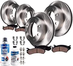 Detroit Axle - All (4) Front and Rear Brake Kit Rotors w/Ceramic Pads w/Hardware & Brake Kit Cleaner & Fluid for 4WD SINGLE REAR WHEEL MODELS