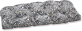 """Pillow Perfect Outdoor/Indoor Corinthian Driftwood Tufted Bench/Swing Cushion, 44"""" x 19"""", Black"""