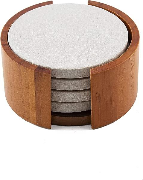 Thirstystone Sandstone Wood Coaster And Holder 4 Inch Round Plain Set W