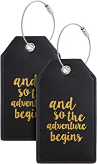 Luggage Tags with Full Back Privacy Cover w/Steel Loops (black 02 pcs set)