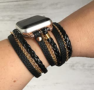 Boho Chic Apple Watch Band Series 1 2 3 4 iWatch braided faux leather double wrap band 38 40 42 44