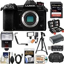 Panasonic Lumix DC-G9 4K Wi-Fi Digital Camera Body with 128GB Card + Battery + Case + Flash + LED Video Light + Tripod + HDMI Cable + Kit