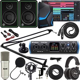 PreSonus Studio 24c 2x2 USB Type-C Audio/MIDI Interface Bundle with Studio One Artist Software Pack and Adjustable Mic Boom Arm w/Swivel Mount Clip & Desk Attachment Clamp and Mackie CR3-X Monitors