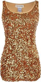 4c6989bf818bc8 Anna-Kaci Womens Sparkle   Shine Glitter Sequin Embellished Sleeveless  Round Neck Tank Top