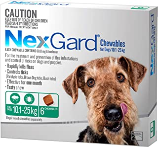 Nexgard, Flea & Tick Monthly Chew, Dog, 10.1-25kg, 6pk
