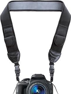 USA Gear TrueSHOT Correa para Cámara Bolsillos para Accesorios y Hebillas de Liberación Rápida - Compatible con Canon Nikon Sony Olympus Pentax Fujifilm y más - Diseño con Negro