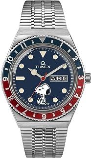 38 mm Q Timex X Peanuts Feat Snoopy Blue Dial Blue/Red Bezel Silver Bracelet