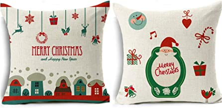 Christmas Pillow Covers, Christmas Tree, Christmas Deer, Santa Claus, Merry Christmas Decorative Soft Throw Pillow Case Christmas Series Cushion Cotton Pillow Covers 18x 18 Linen Blend, Set of 2