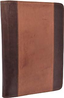 Menzo Menzo A4 Schreibmappe aus echten Leder, Konferenzmappe, Dokumenten-Mappe für Damen und Herren delta/dark
